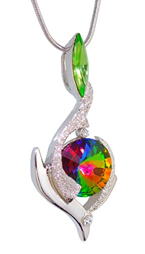 William Wang Designs Birthstone Color Pendant Necklace with Two Swarovski Crystals. Made in USA