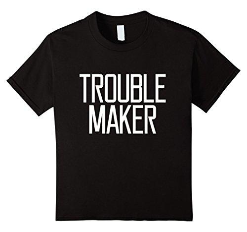 Kids Trouble Maker funny Girl Women Saying Joke Fun T-shirt 8 Black
