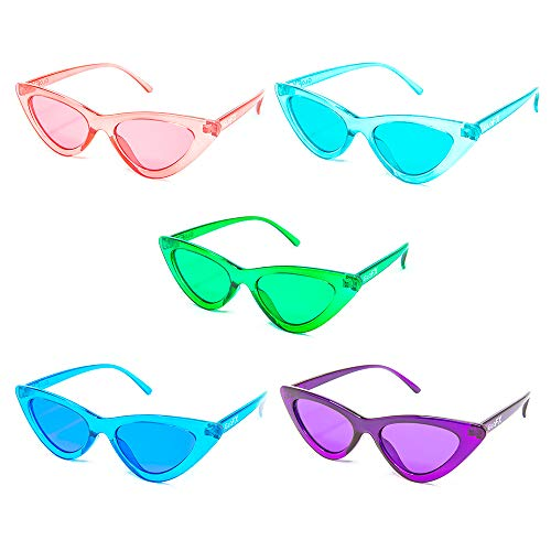 GloFX Cat Eye Sunglasses - 5 Pack - Retro Vintage Mod Fashion Colored Lens UV Protection ()