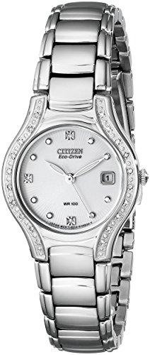 Single Diamond Watch (Citizen Women's EW0970-51B Silhouette Diamond Eco Drive Watch in Silver Tone)
