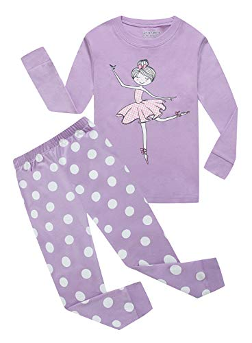 Family Feeling Big Girls Long Sleeve Pajamas Sets 100% Cotton Pyjamas Kids Pjs Size 8 Purple ()