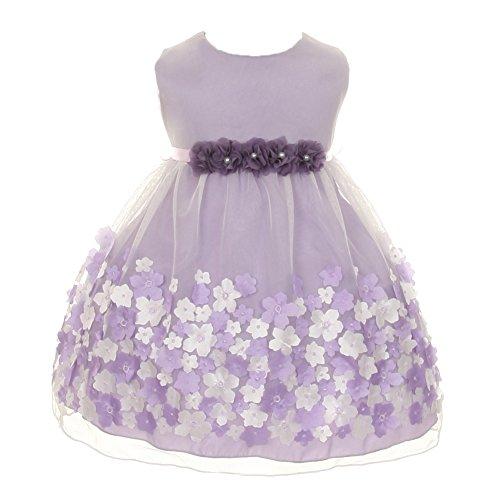 Kids Dream Baby Girls Lavender Taffeta Flowers Sleeveless Easter Dress (Sleeveless Taffeta Wedding Dress)