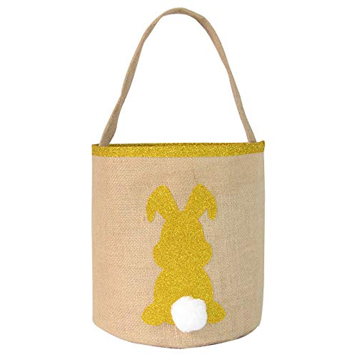 Rabbit Candy Bag Iusun Easter Bunny Basket Creative Portable Holder Present Home Accessory Organizer for Chocolates Candies Biscuits Home Decor Supplies Gift (Yellow)