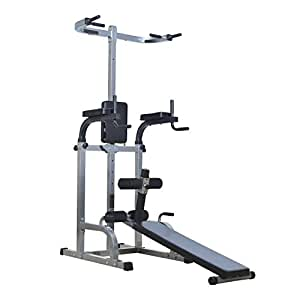 """Soozier 80"""" Full Body Power Tower Home Gym Fitness Station w/ Adjustable Sit Up Bench"""