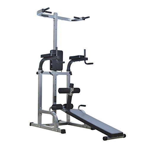 Soozier 80' Full Body Power Tower Home Fitness Station w/ Sit Up Bench