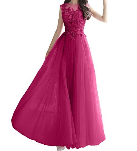 Festlichkleider Lang Damen Romantisch Promkleider A Abendkleider Pink Charmant Abschlussballkleider Prinzess Spitze Perlen Linie SgTwxOv