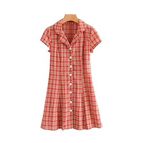 Women Sweet Plaid Print Mini Dress Turn Down Collar Buttons Casual Vintage Dresses Chic A line,L -