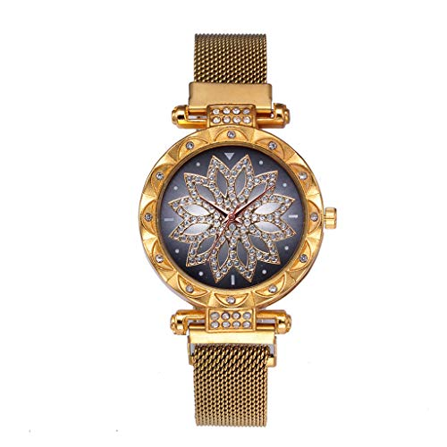 Tantisy ♣↭♣ Women's Crystal Encrusted Bracelet Watch Diamond Accented Rose Cut-Out Dial Swarovski Colored Crystal Watch (Claw Clip Watch)