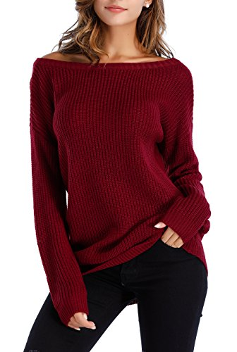 Burgundy Sweater - Sarin Mathews Womens Sexy Off The Shoulder Slouchy Oversized Pullover Sweaters Burgundy XL