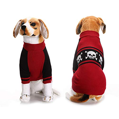 NACOCO Halloween Dog Knitted Sweater Skull Head Bones Hoodies Warm Red Skeleton Costume for Big Dog Golden Retriever Teddy Clothes (XXL) -