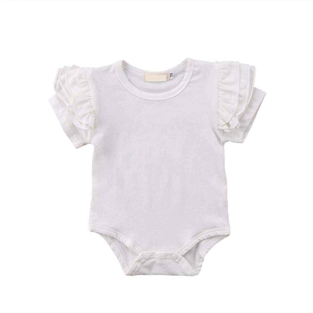 Newborn Baby Girls Romper Tops Clothes Basic Ruffles Sleeve Cotton Jumpsuit Playsuit Sleepwear Outfits 0-24 Months (B# White, 18-24 Months)