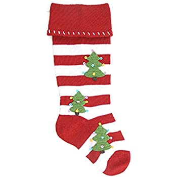 melange red striped knitted christmas stocking with christmas trees 3 - Striped Christmas Stockings