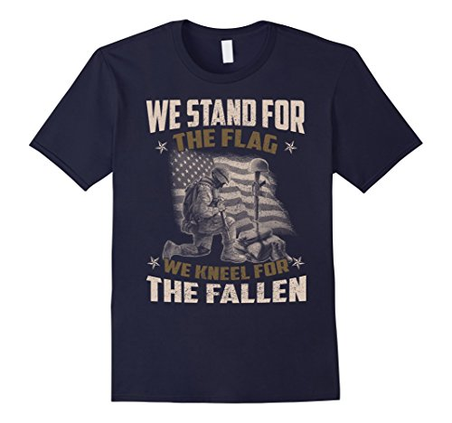 Men's Veteran Gift, We Stand For The Flag, We Kneel For The Fallen Medium Navy