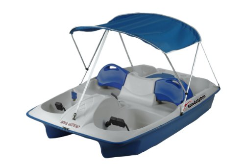 Electric Fishing Boat - SUNDOLPHIN Sun Dolphin Sun Slider 5 Seat Pedal Boat with Canopy (Blue)
