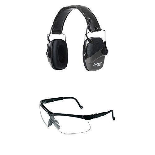 Howard Leight by Honeywell Impact Sport Sound Amplification Electronic Shooting Black Earmuff with Genesis Sharp-Shooter Shooting Glasses, Clear - Natural Honeywell