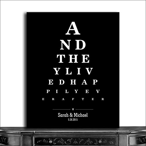 9.5x12 Metal Art Print Personalized Gift For Couple And They Lived Happily Ever After Word Design Eye Chart on Black Background Custom Metal Tin Wedding Art Print