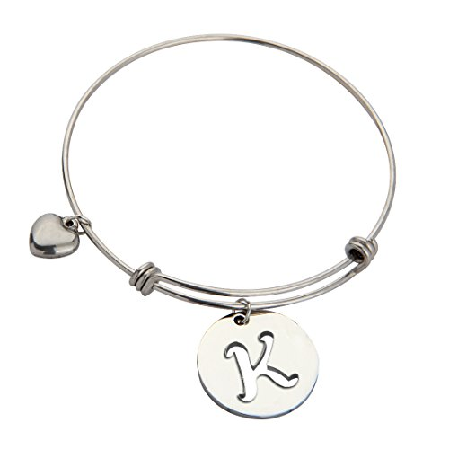 [ZUOBAO Stainless Steel Initial Disc Expandable Wire Bracelet Bangle with Heart Charm (K)] (Expandable Stainless Steel Bracelet)