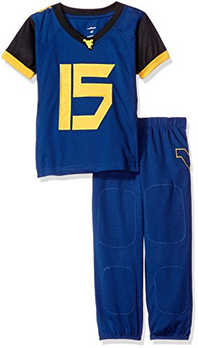(FAST ASLEEP NCAA West Virginia Mountaineers Boys Toddler/Junior Football Uniform Pajamas, Size 6T, Navy)