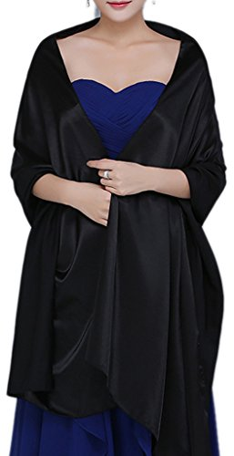Alivila.Y Fashion Womens Satin Soft Long Wrap Scarf Shawl Scarves-Black - Velvet Scarf Black