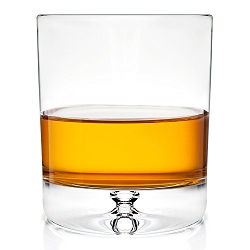 Stylish European Design Crystal Glasses By Ravenscroft Crystal- Premium Bourbon, Whisky, Double Old Fashioned Glasses- Set of 4- 11oz - Perfect Gift For Scotch Lovers- BONUS Microfiber Cleaning Cloth (Rocks Double Old Fashioned)