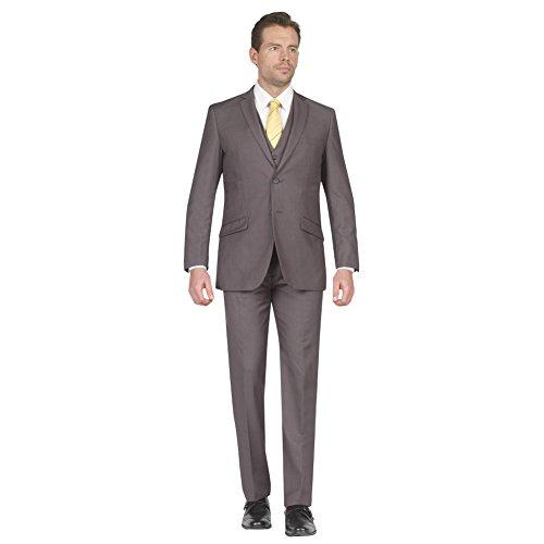 Tazio Mens Suit 2 Button 3 Piece Slim Fit Mid Grey 46R (2 Piece Three Suit Button)