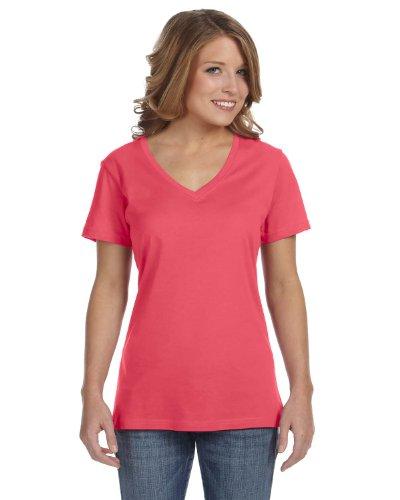 Avil- Camiseta fina de manga corta en forma de V Coral