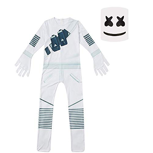 (Marshmello Bodysuit with Mask Music DJ Party Cosplay Costume Boys Girls Playsuit (Type a, 7T/130CM))