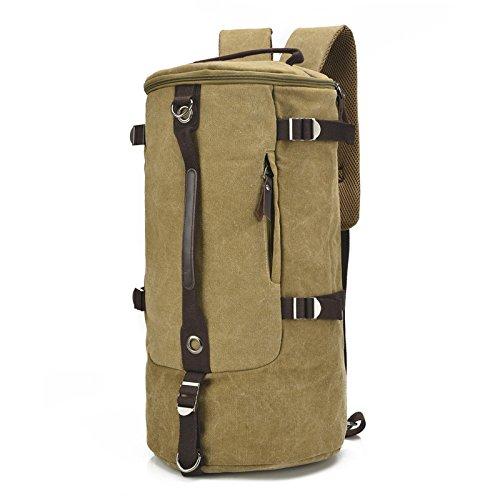 mefly Hombres Bolsa de viaje bolsa grande cilindro Retro Moda multifuncional bolsa de lona bolsa de paquete Xiekua, Size coffee Large Khaki
