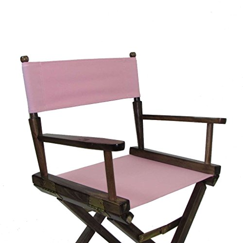 Gold Medal Contemporary 30'''' Bar Height Walnut Frame Directors Chair - Light Pink by Gold Medal