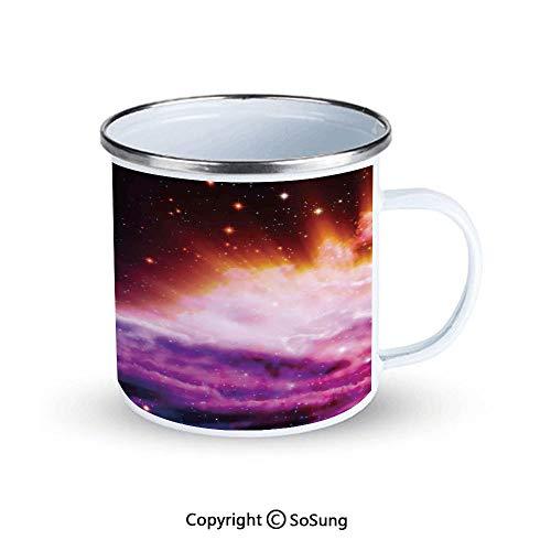 Space Decorations Sportsmans Camping Enamel Travel Mug,The Polar Northern Beams and the Stars Like Nebula Astro Movements Artprint Outdoor Enamel Mug,Navy Purple Orange
