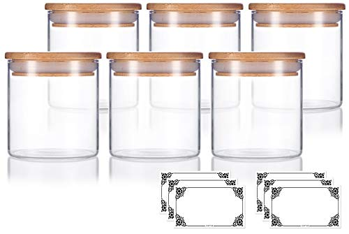 (8 oz Premium Borosilicate Clear Glass Jars with Bamboo Silicone Sealed Lid (6 Pack) + Labels)