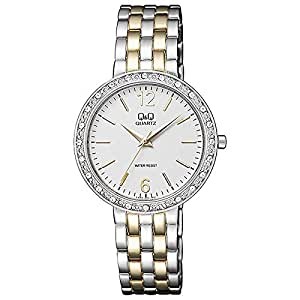 Q&Q Women's White Dial Alloy Band Watch - F559-401Y - Silver & Gold