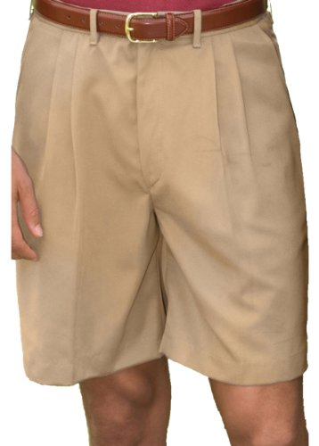 Ed Garments Men'S Pleated Front Soft Touch Shorts-Tan-48 (Pleated Shorts Front Microfiber)