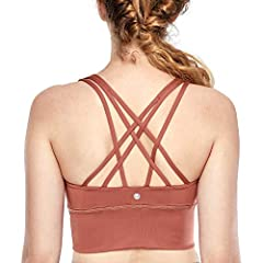 Built for comfort and medium support, this yoga bra has a strappy back design for full freedom of movement and a stylish look. It's made of soft moisture-wicking fabric and it hugs the body with a gentle compression fit.  Great for yoga,fitne...