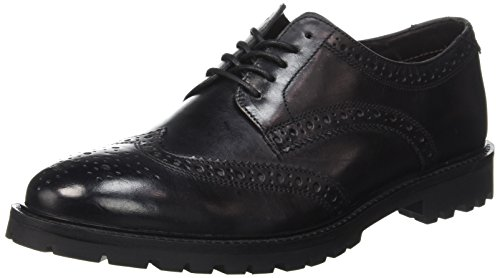 Uomo Scarpe Nero Base Stringate Washed London Brouge Black 018 Trench wXXAEYq