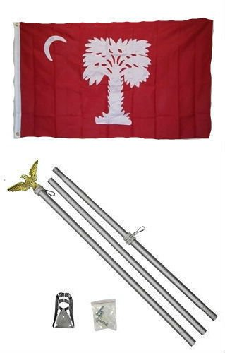 - ALBATROS 3 ft x 5 ft State of South Carolina Big Red Flag Aluminum with Pole Kit Set for Home and Parades, Official Party, All Weather Indoors Outdoors