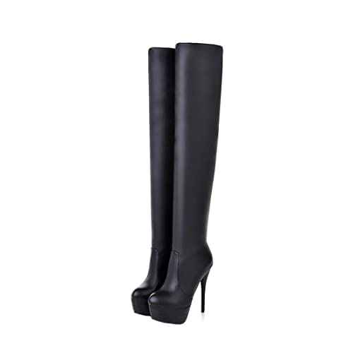 6c9bd832b90 Womens Over Knee Thigh High Heel Stretch Boots Pointed Toe Faux Leather  Pull On Sexy Boots