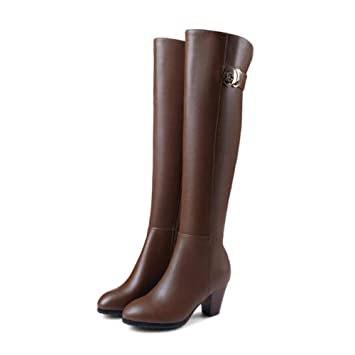 8c15d19973615 Amazon.com: YaXuan Women's Long Boots, New Leather Women Over The ...