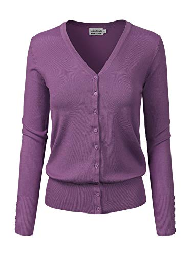Instar Mode Women's Classic Button Down Long Sleeve V-Neck Soft Knit Sweater Cardigan [S-3XL] Ultra Violet ()