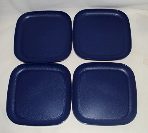 Tupperware Navy Bold N Blue 8 Inch Square Lunch Plates Set of 4