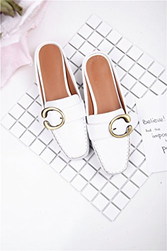 Closed Calaier White Block Cawin Mules Toe Women 2CM on Shoes Heel Slip Sandals qqrwT