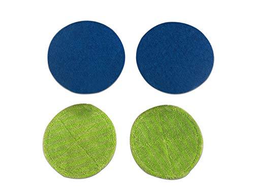 QETU Mop Round Replacement Head, Green Microfiber Mop Head Replacement Cloth,Blue Waxing Head Household Mop Accessories