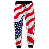 america pants - SAYM Women USA American Flag Emojies Galaxy 3D Sweatpants Joggers Black Medium
