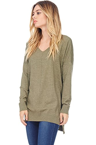 - AD Womens Loose V-Neck Pullover Sweater Top W/Slight Hi-Low (L. Olive, Small/Medium)