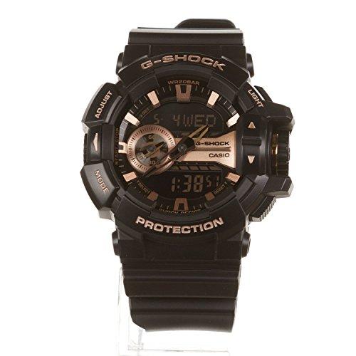 Casio G-Shock Black and Rose Gold-Tone Dial Resin Quartz Men's Watch GA400GB-1A4