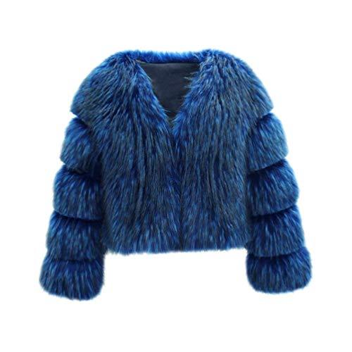 Sintética Manga cuello Grande De Espesar Elegantes Piel Talla Chaqueta Mujer Blau V Abrigo Vintage Retro Fashion Caliente Otoño Larga Invierno 0qXFOnwvx