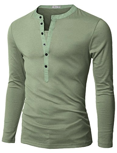 Doublju Mens Long Sleeve Henley T-Shirts with Button Placket, Mint US XXX-Large/Asia XXXX-Large