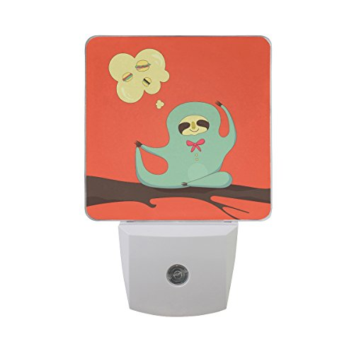 Naanle Set Of 2 Cartoon Sloth Do Yoga On Tree Branch Thinking About Cake Hamburgers Meditation On Red Auto Sensor LED Dusk To Dawn Night Light Plug In Indoor for Adults by Naanle