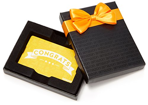 Amazon.com Gift Card in a Black Gift Box (Congratulations Icons Design)