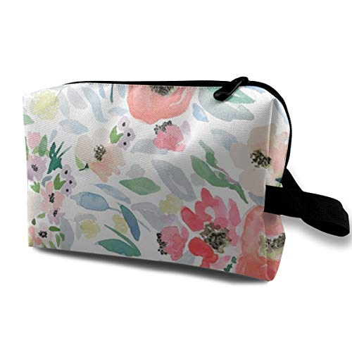 8 Blooming Spring Garden In Peach And Blue_27549Canvas Large Makeup BagMake Up Bag Organizer Train CaseWaterproof Dark Blue